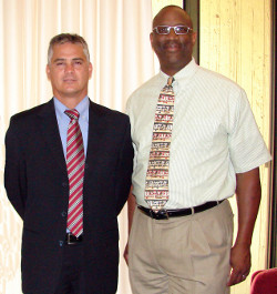 Costas Solomou (right), a United States Sports Academy doctoral student and sports administrator for the Cyprus Sports Organization, took his comprehensive finals examination last week. The examination process was supervised by Dr. Fred Cromartie (left), the Academy's Director of Doctoral Studies and Chair of Sports Management.